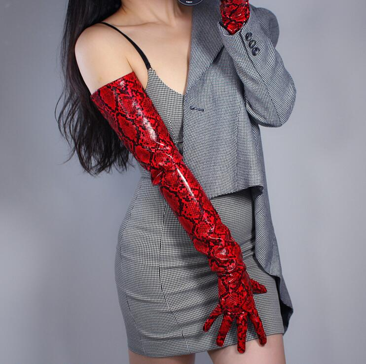 Women's Fashion Sexy Slim Red Snakeskin Faux Pu Leather Glove Lady's Club Performance Formal Party Leather Long Glove 70cm R2316