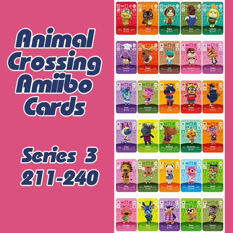 1Pcs Animal Crossing New Horizons Amiibo Card For NS Switch 3DS Game Lobo Card Set Series 3 (211-240)