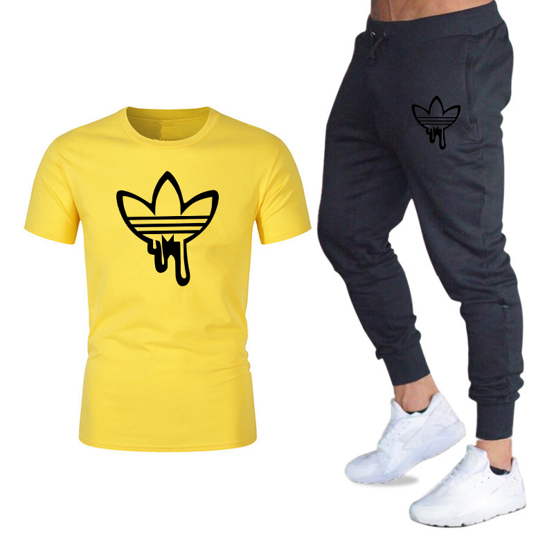2019 New Summer Thin Suit, Men's Short-sleeved T-shirt, Loose And Fat Casual Sports Suit, Jogging, Cotton Casual Sports T-shirt,