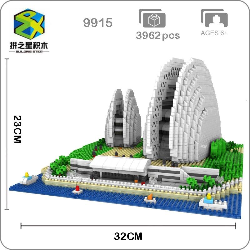 BS 9915 World Famous Architecture Zhuhai Shell Opera House 3D Model Diamond Mini Building Small Blocks Toy for Children no Box