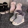 Новинка 2019 года; зимние детские хлопковые ботинки для мальчиков и девочек; женские шерстяные зимние ботинки