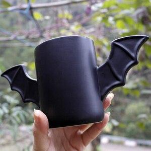 Image 5 - Taza de cerámica con diseño de alas de murciélago para hombre, taza creativa de cerámica con diseño de alas de murciélago de color negro, regalo de cumpleaños para amigos
