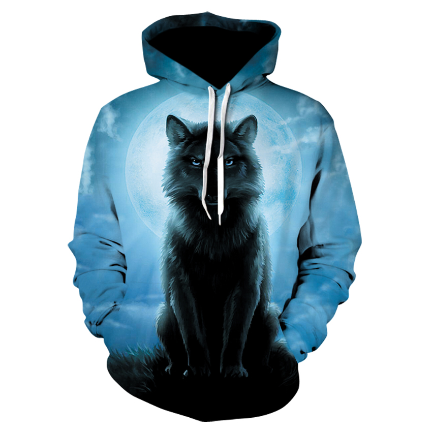 High Quality Men's Printed Long-sleeved Hoodie 2020 Fashion Animal Wolf Hoodie Tops For Men And Women