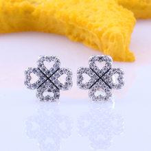 925 pandora prata esterlina brinco trevo petalas de amor com pregos de cristal brincos para mulheres presente de casamento