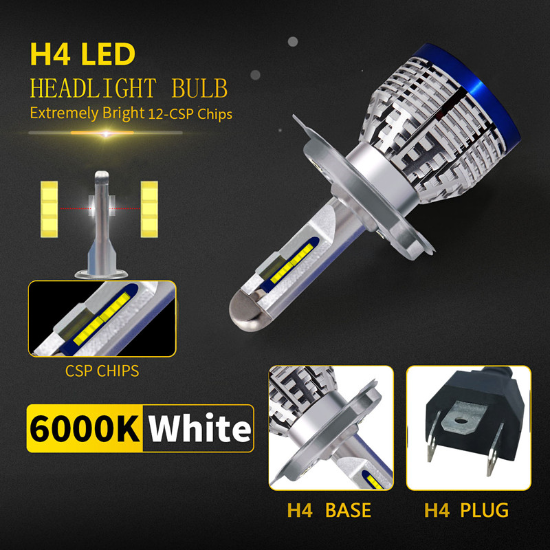 1X H4 HB2 9003 <font><b>HS1</b></font> 9000LM White <font><b>Led</b></font> <font><b>Headlight</b></font> Bulb Hi/Lo Beam Car Motorcycle Front Head Fog Driving Lamp Lighting Scooter Light image