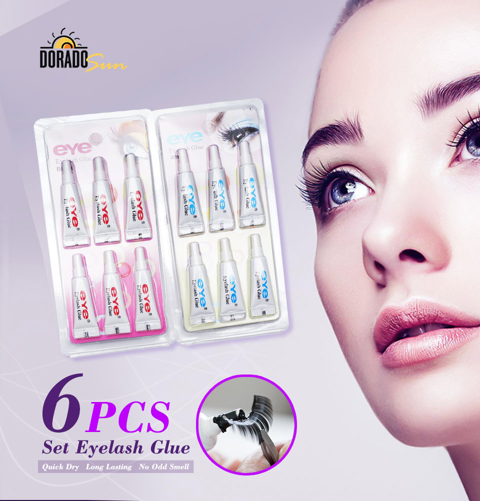 Doradosun 6 Pcs Fack Eyelsh Glue Makeup Adhesive False Eyelash Glue Clear-white Dark-black Waterproof Eye Lash Cosmetic Tools