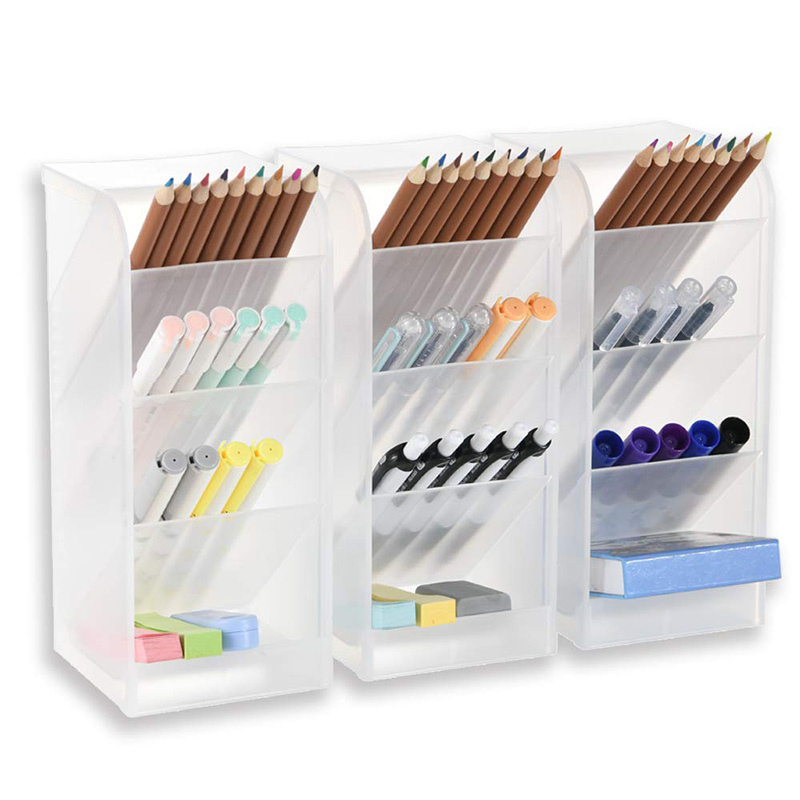 3 Pcs Big Desk Organizer- Pen Organizer Storage For Office, School, Home Supplies, Translucent White Pen Storage Holder, High Ca
