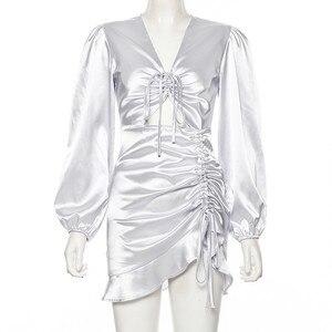 Image 5 - Hugcitar 2019 긴 퍼프 슬리브 붕대 주름 장식 v 목 섹시한 미니 드레스 가을 겨울 여성 크리스마스 파티 우아한 의상