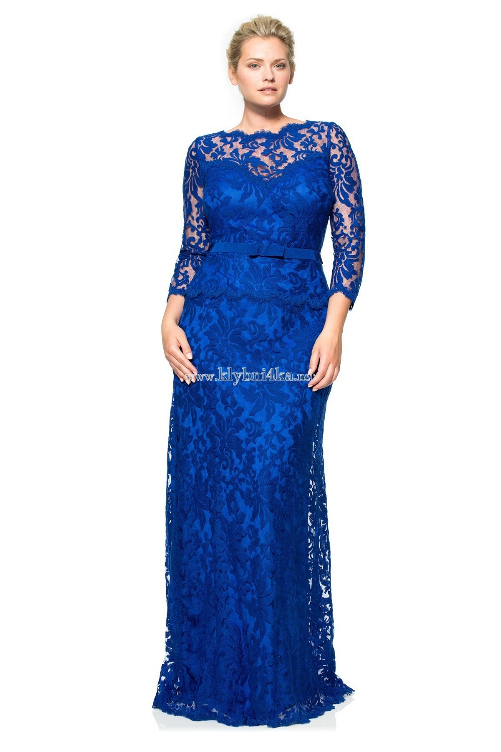Royal Blue Elegant Sheath Long Sleeve Formal Evening Gown Women Sheer Top Waist Ribbon Party 2018 Mother Of The Bride Dresses