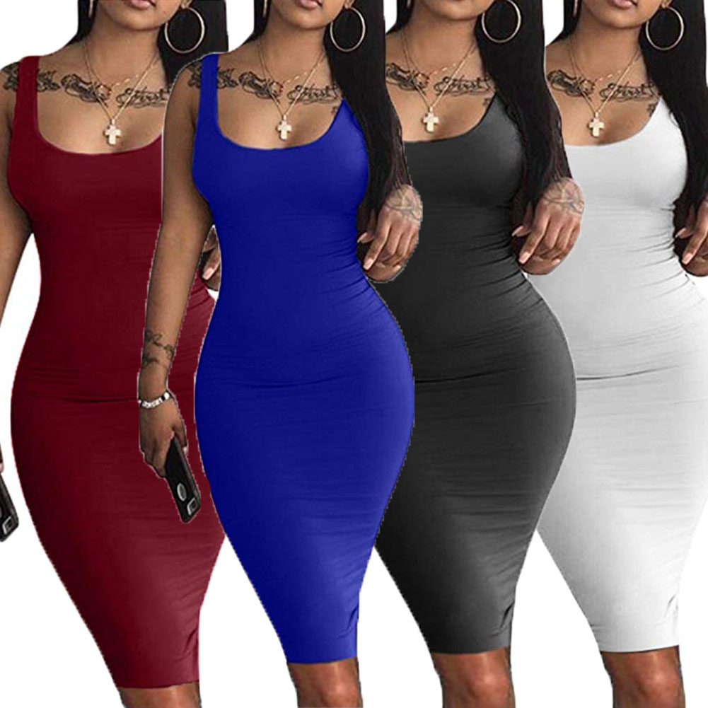 Summer Sexy Body Dresses Womens Ladies Sleeveless Solid Red Slim Midi Dress Evening Party Beach Bodycon Dresses Vestido Sundress