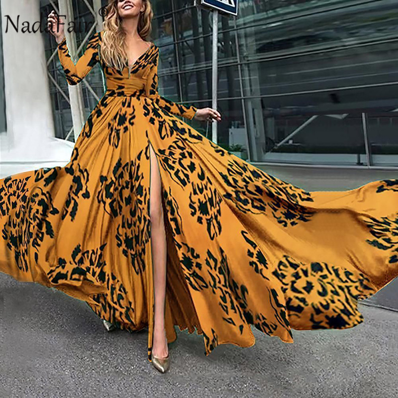 Nadafair Boho Maxi Dress Plus Size Tunic Sexy V Neck Floral Summer Beach Party Long Dress Women
