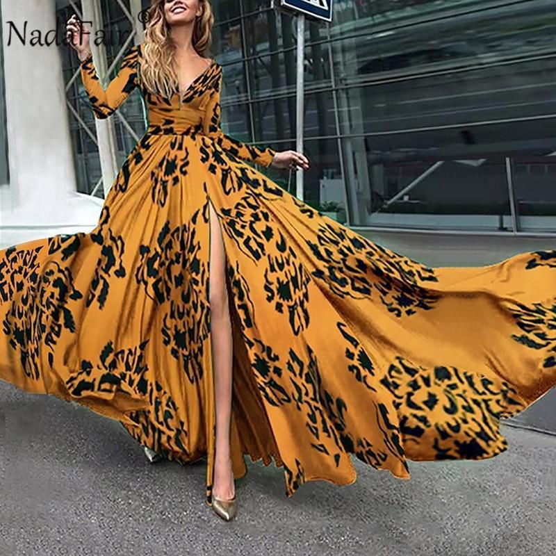 Nadafair Boho Maxi Dress Plus Size Tunic Sexy V Neck Floral Summer Beach Party Long Dress Women