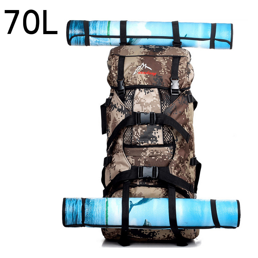 Camouflage Profession 70L Large Capacity Outdoor Mountaineering Bag Hiking Bag Camping Hiking Backpack Canvas Back Luggage