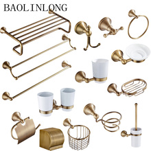 Bathroom hardware set Accessories Antique Brass Collection Towel Ring Paper Holder Toilet Brush Coat Hook Bath Rack Soap Dish antique brass luxury bathroom accessory paper holder toilet brush rack commodity basket shelf soap dish towel ring