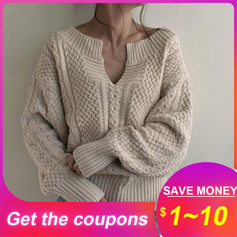 Warm Thick Sweater 2019 Women's Korean Style Pullover Sweaters Leisure Loose Oversize Plain Sweaters V-neck Street Tops Knitted