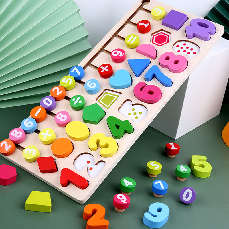 Preschool Wooden Montessori Toys Count Geometric Shape Cognition Match Baby Early Education Teaching Aids Math Toys For Children