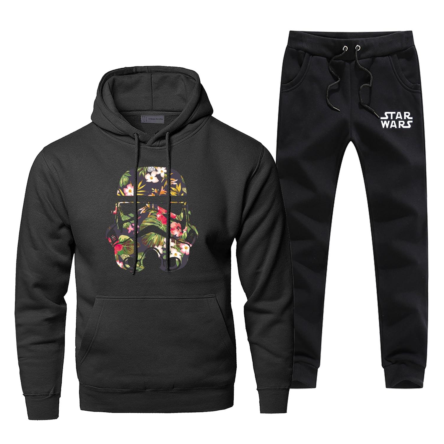 Star Wars Hoodies Pants Sets Men Suit Selfie Stormtrooper Starwars Tracksuit Pant Sweatshirt Sweatpants Sportswear Autumn Set