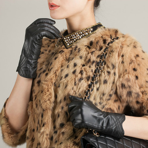 Image 5 - Women Leather Gloves Genuine Leather Thermal Cashmere Linning Winter Warm Creamy White Driving Gloves Party Lady Mitten Gloves