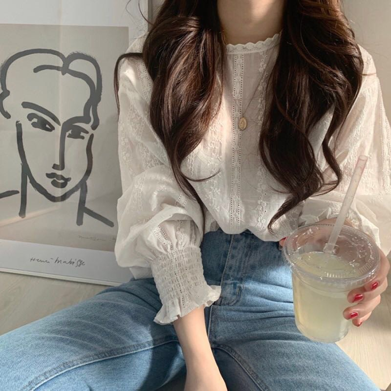 Women's Blouse Loose Casual Chiffon Summer Round Neck Sweet Solid Color Puff Full Sleeve Lace Plus Size White Bottoming Blouse.w