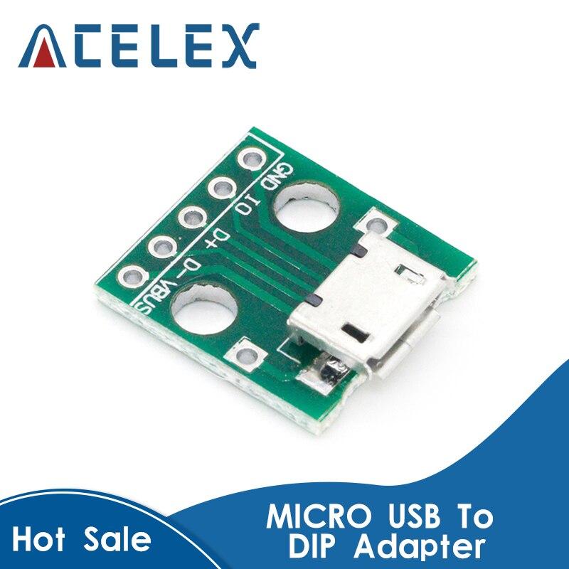 10 pièces MICRO USB à DIP adaptateur 5pin connecteur femelle B Type PCB convertisseur platine de prototypage USB 01 carte de commutation SMT siège mère |
