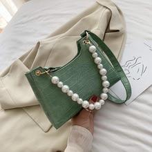2020 new womens bag casual female french niche foreign crocodile pattern retro chain shoulder slung armpit