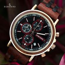 BOBO BIRD montre en bois pour hommes, chronographe, chronomètre militaire, montre de spectacle Date pour coffret cadeau