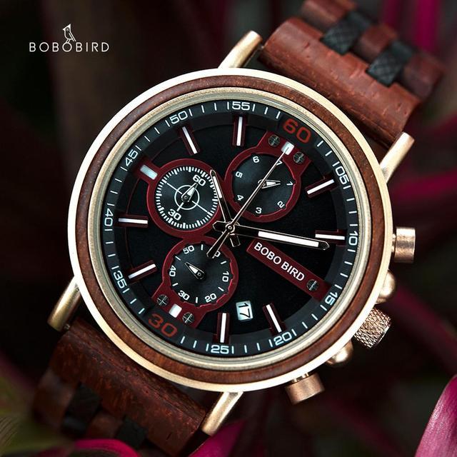 BOBO BIRD reloj de madera para hombre, cronógrafo militar, cronómetro masculino, muestra fecha para regalos de novio