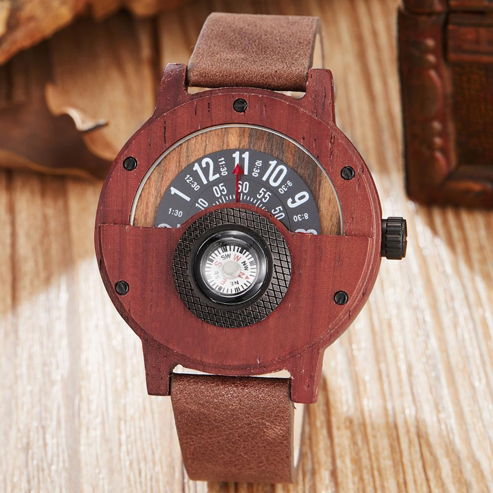 Creative Compass WOOD Watch Men Turntable Dial Real Walnut Ebony Wooden Man Watches Male Black Brown Red WOODEN Case Clock Reloj