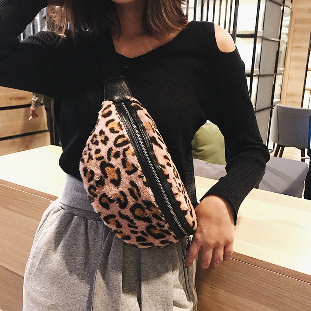 Women Fanny Pack Leopard Plush Waist Bag Large Capacity Sport Chest Bag Wild Purse Unique Travel Money Hot Sale Hip Bag #EX
