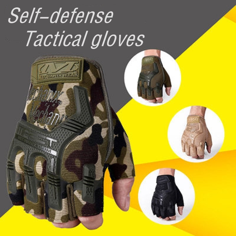 Defense Gloves Half Riding Full Finger Tactical Gloves Silicone Reinforced Knuckles Non-slip Palm Stretchable Fingers