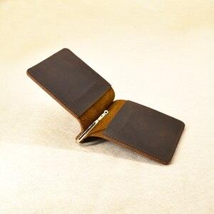 Handmade Money Clip Wallet Slim Genuine Leather with Metal Money Holder Wallet Vintage Stainless Mens Wallet Clip Bill Holder(China)