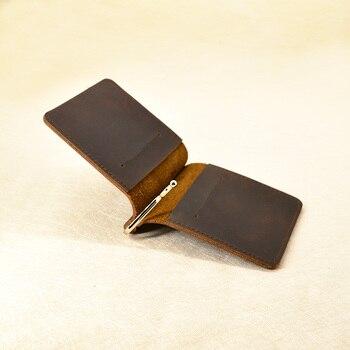 Купить со скидкой Handmade Money Clip Wallet Slim Genuine Leather with Metal Money Holder Wallet Vintage Stainless Men