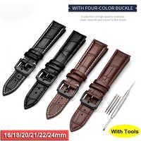 Echtes Leder Armband Erste Schicht Aus Echtem Kalbsleder Armband Ersatz 20mm 22mm Alle Schwarz armband montre cuir d40