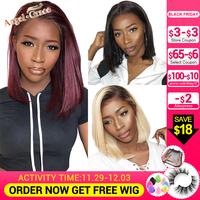 Angel Grace Hair Short Bob Lace Front Human Hair Wigs 13X4 Brazilian Straight Blonde Bob Wigs Pre Plucked With Baby Hair Remy