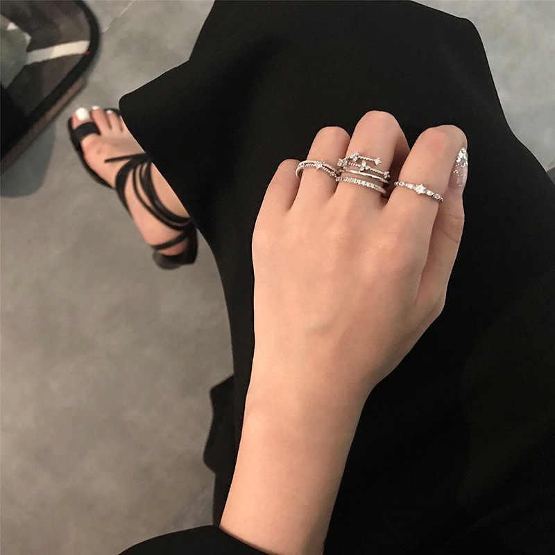 AGLOVER 2019 ใหม่ 925 เงินสเตอร์ลิงแหวน 3 ชิ้น/เซ็ตแหวนดาว SHINY Zircon Charm สำหรับงานแต่งงานแฟชั่นเครื่องประดับคริสต์มาสของขวัญ