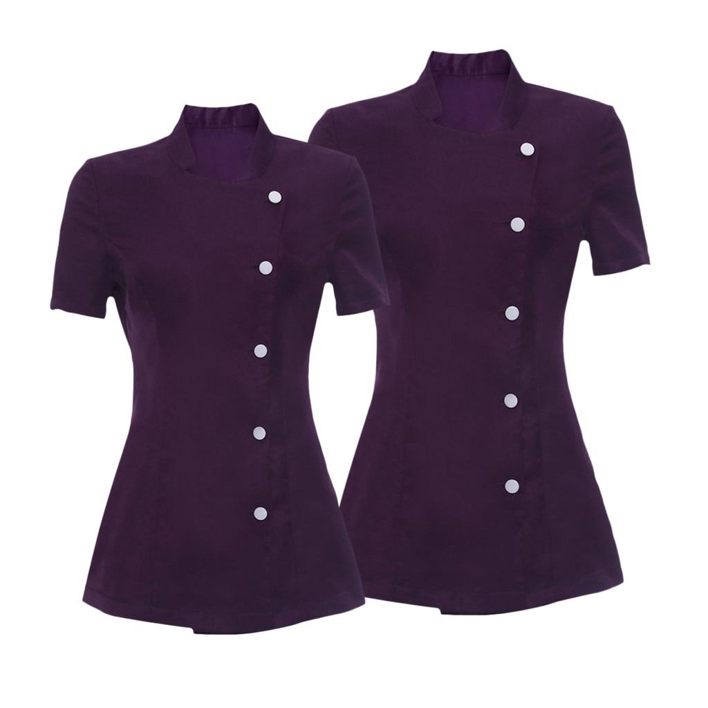 2/pack Women's Dark Purple Dress Salon Spa Hairdressers Beauty Uniform Hotel Worker Short Sleeve Tunic Coat