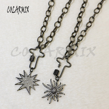 3 strand link chain necklace pendants necklace cross bolt clasp necklace accessories for women jewels gift for lady 5837