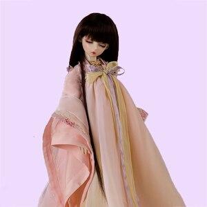 Image 4 - Allaosify Bjd Wig 1 PCs Long Straight Hair 1/3 1/4 1/6 1/8 Bjd Doll Wig Black Bangs Free Shipping