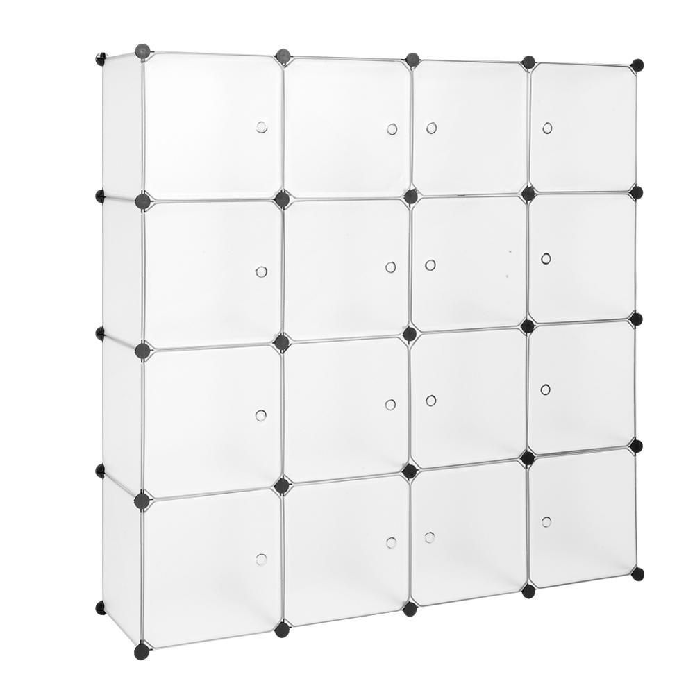 Modular font b Closet b font Organizer Plastic Cabinet 16 Cube Wardrobe Cubby Shelving Storage Cubes