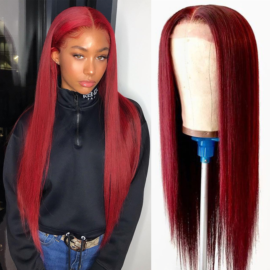 Burgundy Pre Plucked Lace Front Human Hair Wigs Straight Transparent 13x4 150% Brazilian Remy Hair Colored Lace Frontal Wigs