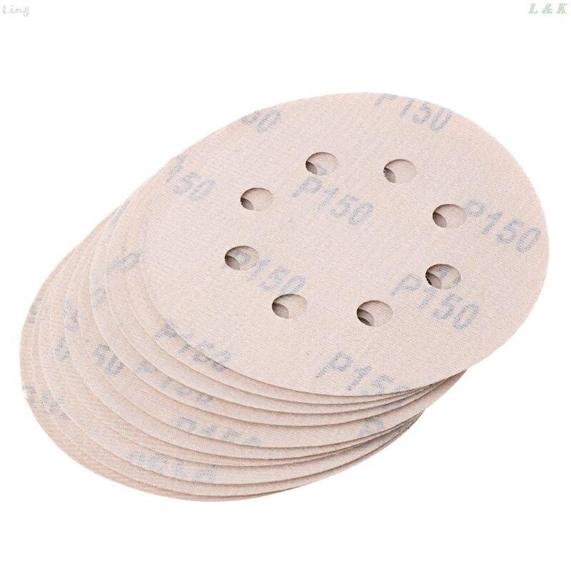 10PCS 5 Inch 8 Holes Sanding Discs 10PCS Sandpaper Assortment Hook And Loop Sander Paper   U50A