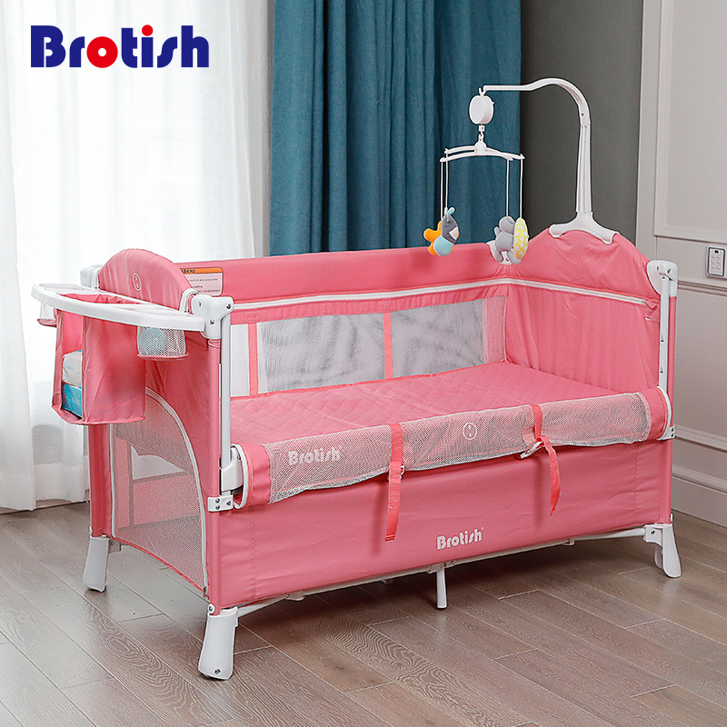 Collapsible Baby Bed European Folding Kids Bed Large Game Bed Baby Multifunction Portable Cradle For 0--6years Old Babies