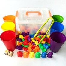 Brinquedos sensorial montessori, brinquedos de contagem, ursos, classificação, copos, brinquedos de matemática, jogo de correspondência, aprendizagem precoce, presente para crianças
