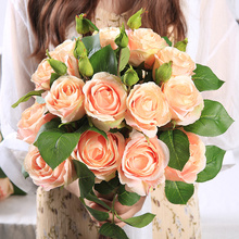 yumai 1pc 60cm Fall Silk Rose Artificial Flowers Branches 2Head with Bud Peony for Wedding party Decoration Faux