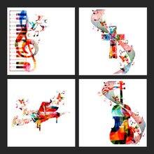 Абстрактный холст Красочные Музыкальные инструменты картина