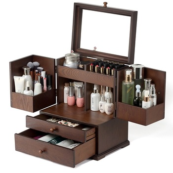 Dressing Table, Earrings, Cosmetics, Jewelry, All-in-one Receptacle Box, Dust-proof, Vintage Wooden Drawer-type Lipstick Lattice