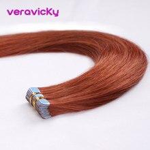 Лента для наращивания волос человеческие волосы медные Красные настоящие волосы Remy Huma клей для наращивания бесшовные европейские волосы уток кожи