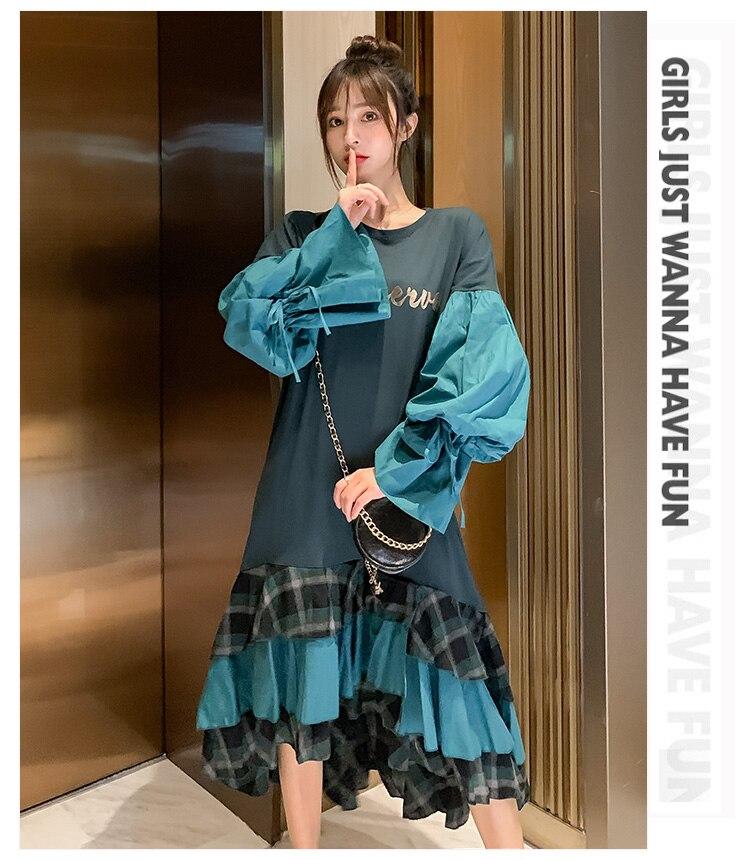 Outono Lace-up Grande Lanterna Manga Em Cascata vestidos de babados