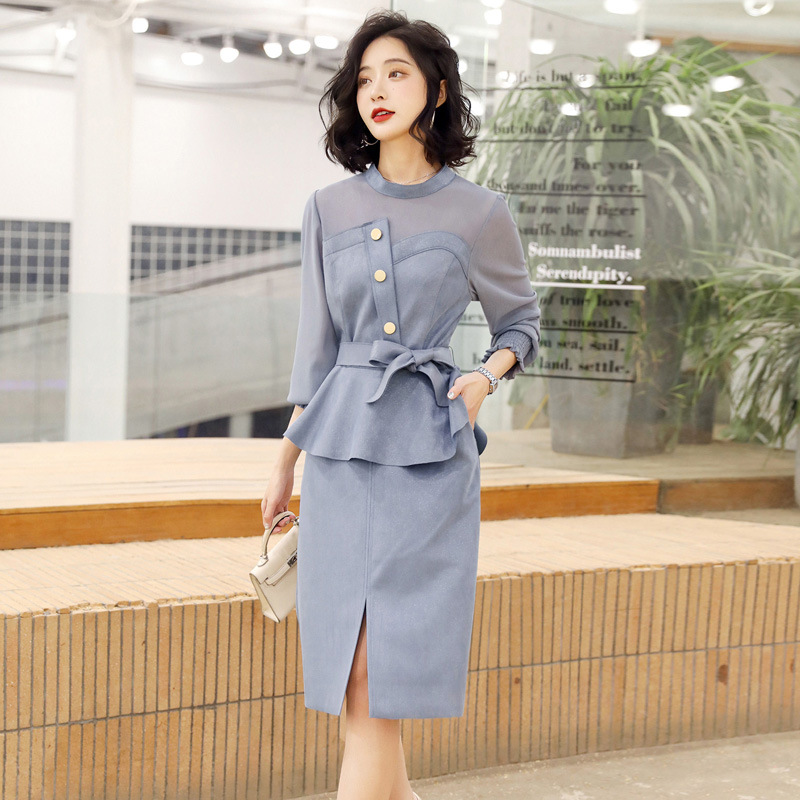 2020 Spring Graceful Ladies' Elegant Korean-style City Casual Ol Commuting Dress Outfit Simple Joint Two-Piece Set