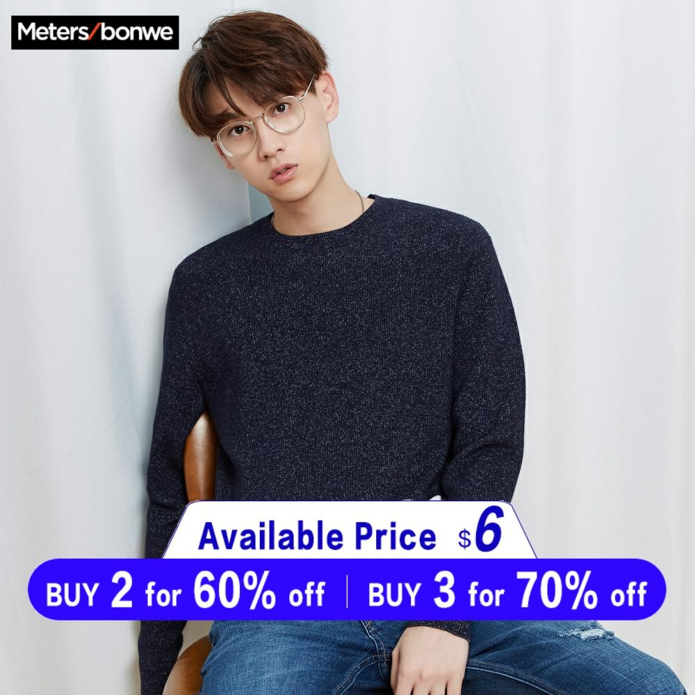 Metersbonwe New Brand Wool Sweater Men 2019 Autumn Fashion Long Sleeve Knitted Men Cotton Sweater High Quality Clothes